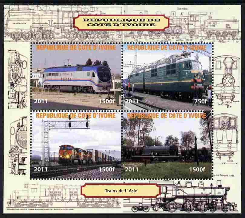 Ivory Coast 2011 Railways - Trains of Asia perf sheetlet containing 4 values unmounted mint. Note this item is privately produced and is offered purely on its thematic appeal