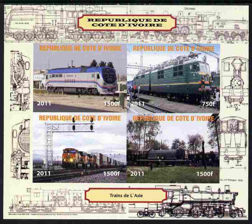 Ivory Coast 2011 Railways - Trains of Asia imperf sheetlet containing 4 values unmounted mint. Note this item is privately produced and is offered purely on its thematic appeal, it has no postal validity