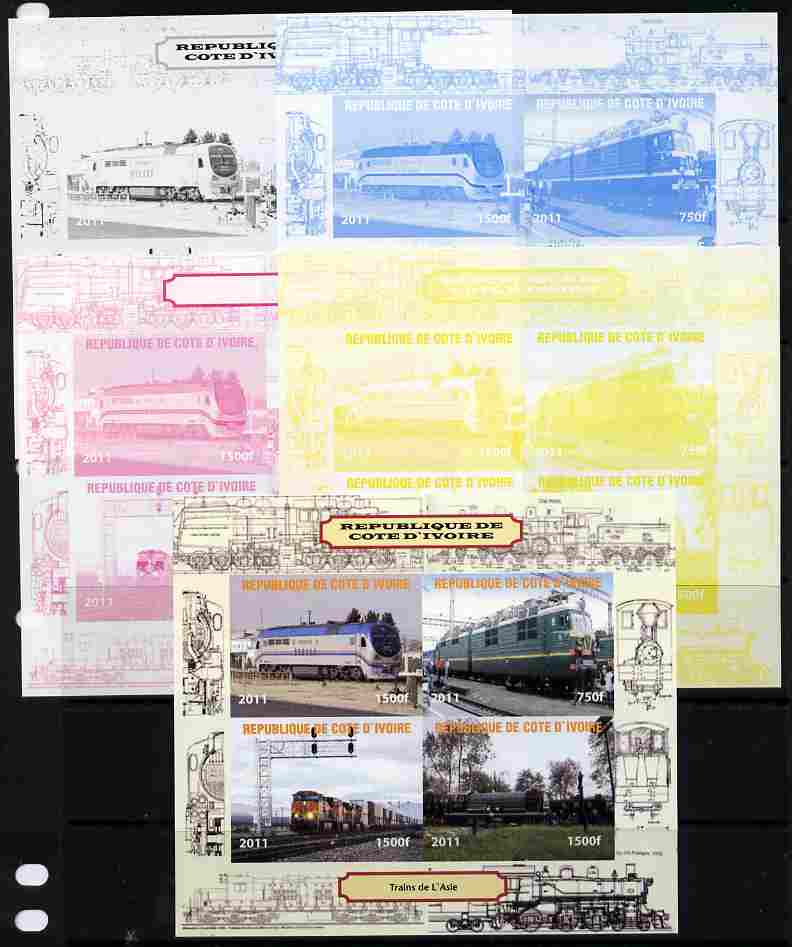 Ivory Coast 2011 Railways - Trains of Asia sheetlet containing 4 values - the set of 5 imperf progressive proofs comprising the 4 individual colours plus all 4-colour composite, unmounted mint