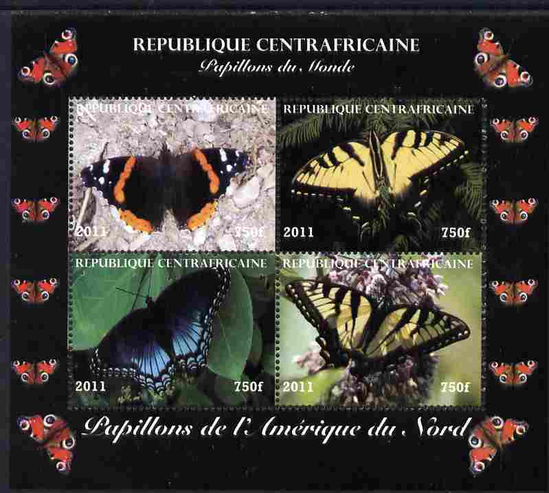 Central African Republic 2011 Butterflies of the World - North America perf sheetlet containing 4 values unmounted mint. Note this item is privately produced and is offered purely on its thematic appeal