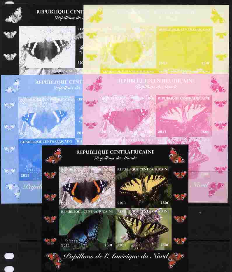 Central African Republic 2011 Butterflies of the World - North America sheetlet containing 4 values - the set of 5 imperf progressive proofs comprising the 4 individual colours plus all 4-colour composite, unmounted mint