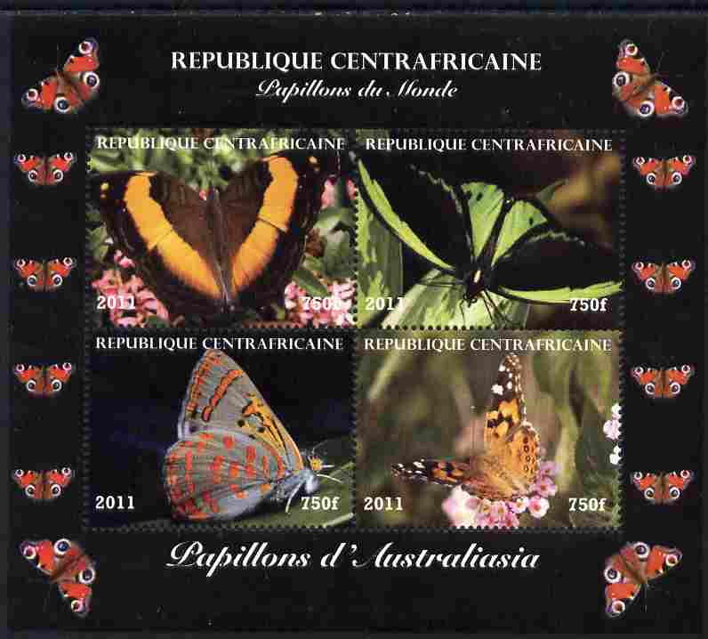 Central African Republic 2011 Butterflies of the World - Australasia perf sheetlet containing 4 values unmounted mint. Note this item is privately produced and is offered purely on its thematic appeal