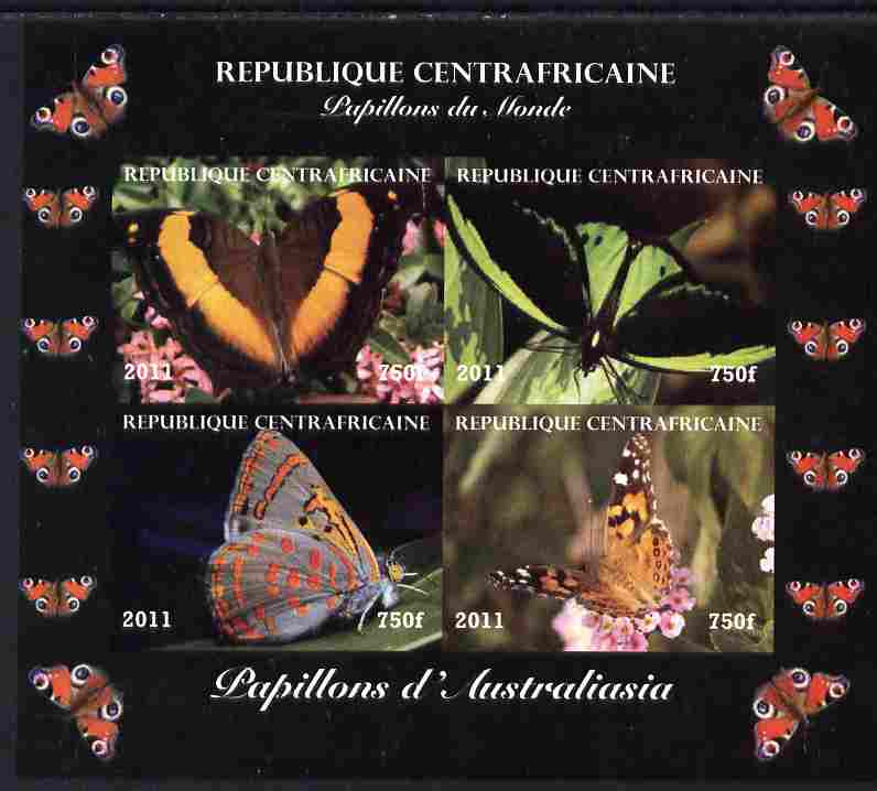 Central African Republic 2011 Butterflies of the World - Australasia imperf sheetlet containing 4 values unmounted mint. Note this item is privately produced and is offered purely on its thematic appeal, it has no postal validity