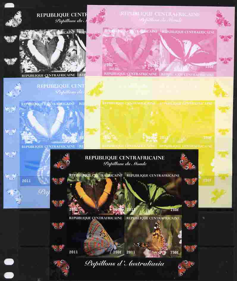 Central African Republic 2011 Butterflies of the World - Australasia sheetlet containing 4 values - the set of 5 imperf progressive proofs comprising the 4 individual colours plus all 4-colour composite, unmounted mint