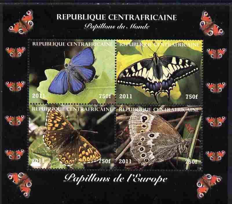 Central African Republic 2011 Butterflies of the World - Europe perf sheetlet containing 4 values unmounted mint. Note this item is privately produced and is offered purely on its thematic appeal