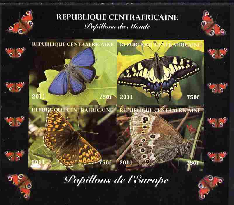 Central African Republic 2011 Butterflies of the World - Europe imperf sheetlet containing 4 values unmounted mint. Note this item is privately produced and is offered purely on its thematic appeal, it has no postal validity