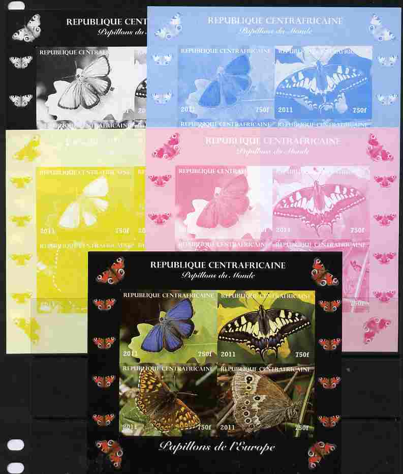 Central African Republic 2011 Butterflies of the World - Europe sheetlet containing 4 values - the set of 5 imperf progressive proofs comprising the 4 individual colours plus all 4-colour composite, unmounted mint