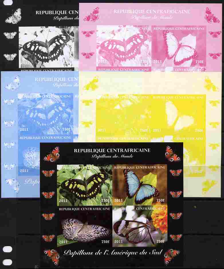 Central African Republic 2011 Butterflies of the World - South America sheetlet containing 4 values - the set of 5 imperf progressive proofs comprising the 4 individual colours plus all 4-colour composite, unmounted mint