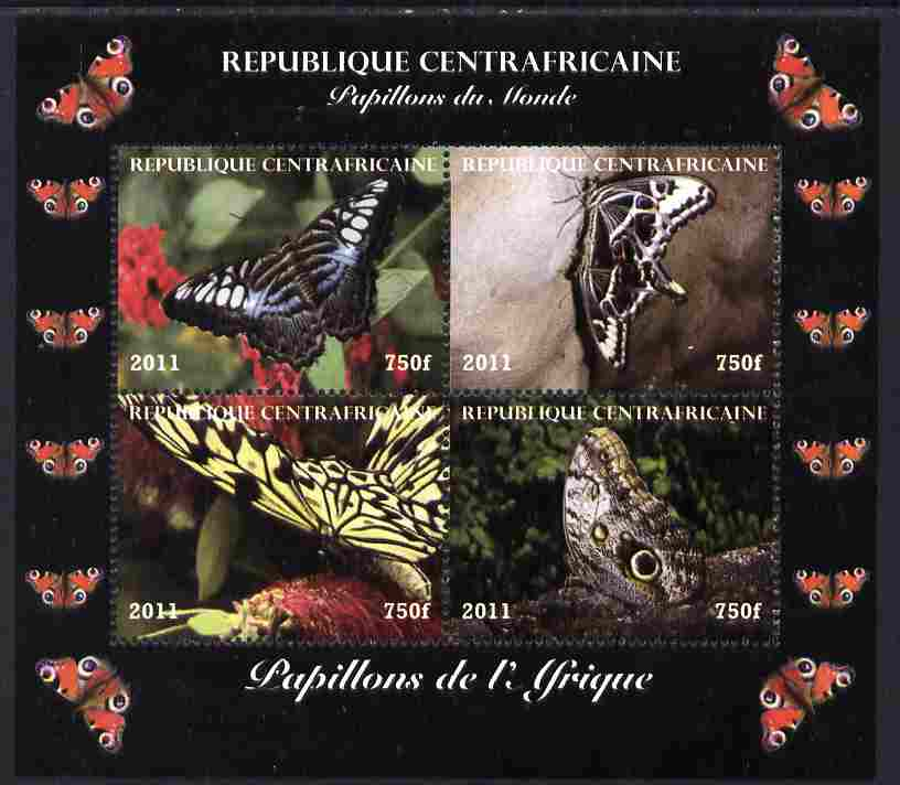 Central African Republic 2011 Butterflies of the World - Africa perf sheetlet containing 4 values unmounted mint. Note this item is privately produced and is offered purely on its thematic appeal
