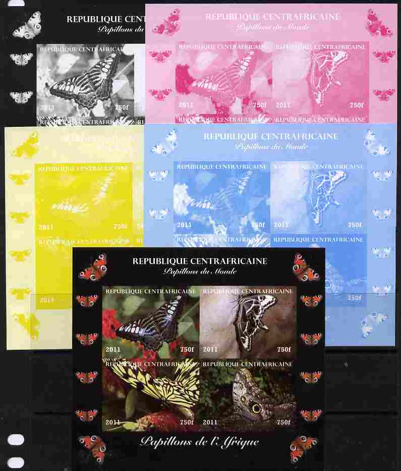 Central African Republic 2011 Butterflies of the World - Africa sheetlet containing 4 values - the set of 5 imperf progressive proofs comprising the 4 individual colours plus all 4-colour composite, unmounted mint
