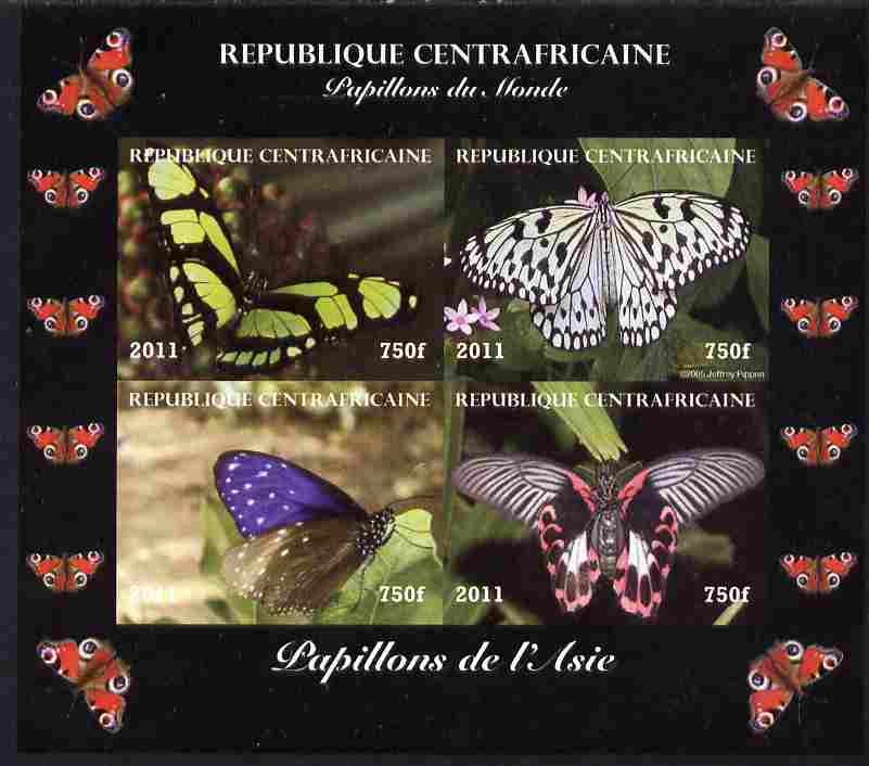 Central African Republic 2011 Butterflies of the World - Asia imperf sheetlet containing 4 values unmounted mint. Note this item is privately produced and is offered purely on its thematic appeal, it has no postal validity