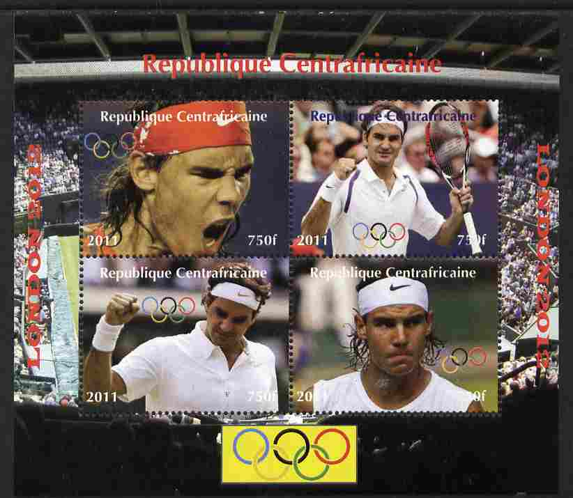 Central African Republic 2011 London Olympics - Tennis (Federer & Nadal) perf sheetlet containing 4 values unmounted mint. Note this item is privately produced and is offered purely on its thematic appeal