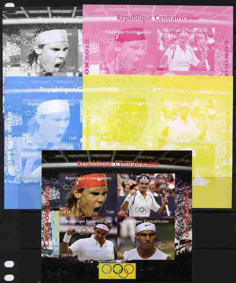 Central African Republic 2011 London Olympics - Tennis (Federer & Nadal) sheetlet containing 4 values - the set of 5 imperf progressive proofs comprising the 4 individual colours plus all 4-colour composite, unmounted mint