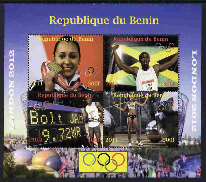 Benin 2011 London 2012 Olympics - Athletics (Jessica Ennis & Eugene Bolt) perf sheetlet containing 4 values unmounted mint. Note this item is privately produced and is offered purely on its thematic appeal, it has no postal validity