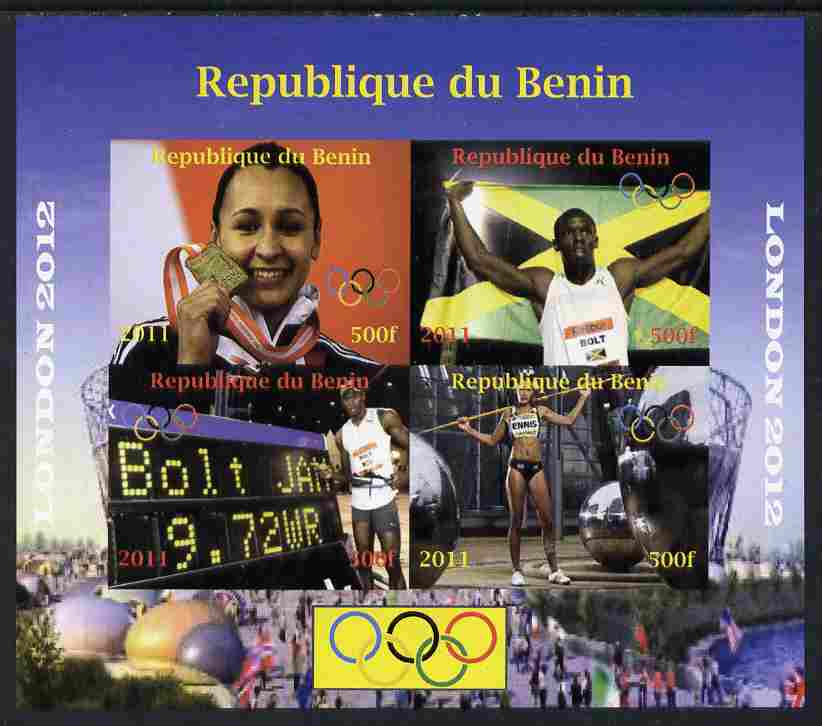 Benin 2011 London 2012 Olympics - Athletics (Jessica Ennis & Eugene Bolt) imperf sheetlet containing 4 values unmounted mint. Note this item is privately produced and is ...