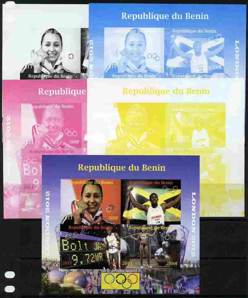 Benin 2011 London 2012 Olympics - Athletics (Jessica Ennis & Eugene Bolt) sheetlet containing 4 values - the set of 5 imperf progressive proofs comprising the 4 individual colours plus all 4-colour composite, unmounted mint