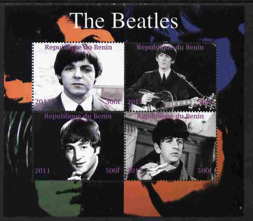 Benin 2011 The Beatles perf sheetlet containing 4 values unmounted mint. Note this item is privately produced and is offered purely on its thematic appeal