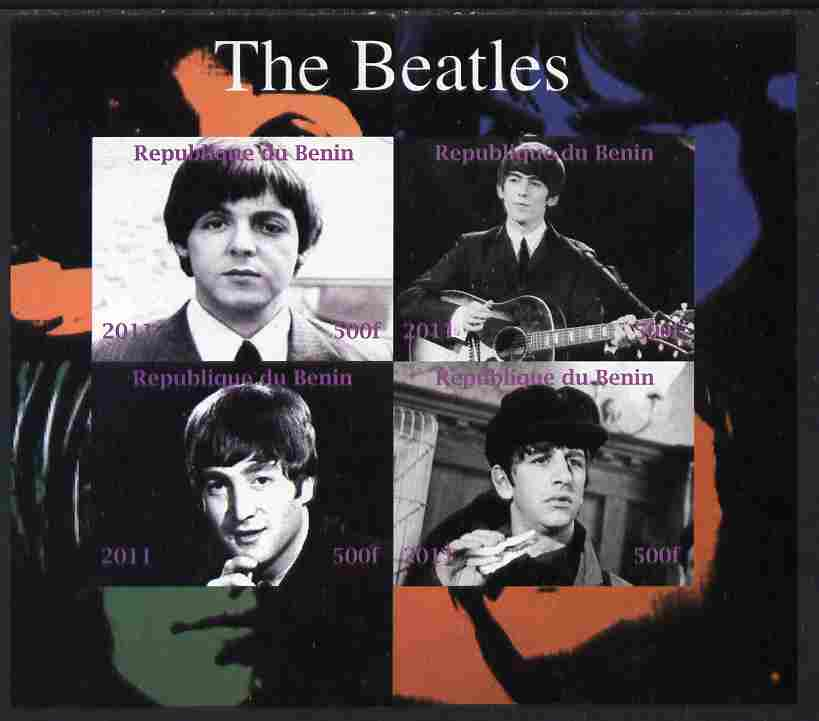 Benin 2011 The Beatles imperf sheetlet containing 4 values unmounted mint. Note this item is privately produced and is offered purely on its thematic appeal