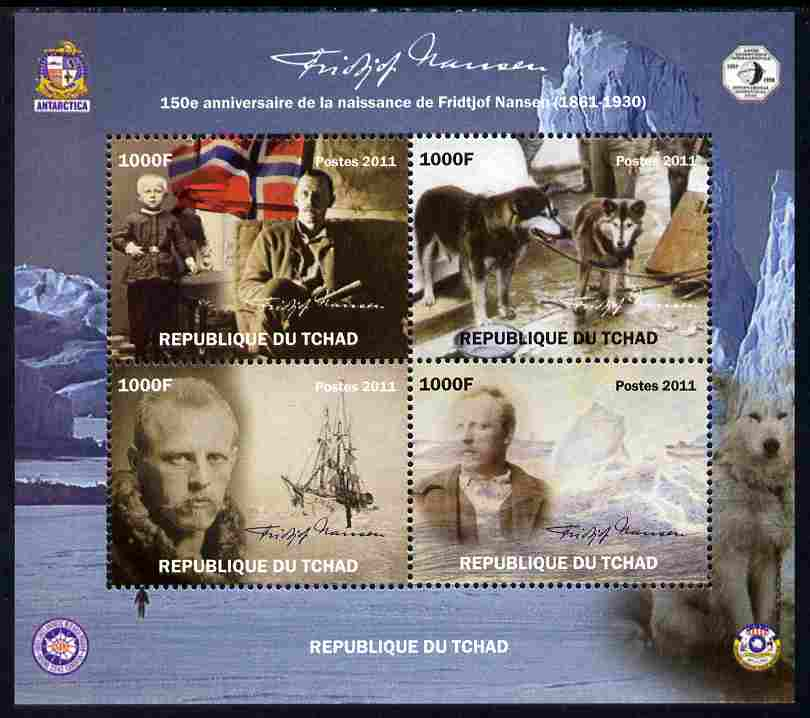 Chad 2011 150th Birth Anniversary of Fridtjof Nansen (polar explorer) perf sheetlet containing 4 values unmounted mint. Note this item is privately produced and is offered purely on its thematic appeal
