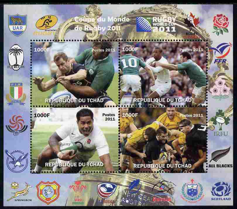 Chad 2011 Rugby World Cup perf sheetlet containing 4 values unmounted mint. Note this item is privately produced and is offered purely on its thematic appeal