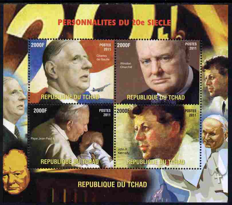 Chad 2011 Personalities of the 20th Century (de Gaulle, Churchill, Pope & Kennedy) perf sheetlet containing 4 values unmounted mint. Note this item is privately produced and is offered purely on its thematic appeal