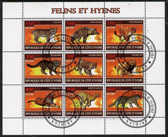 Ivory Coast 2009 Big cats & Hyenas perf sheetlet containing 9 values fine cto used