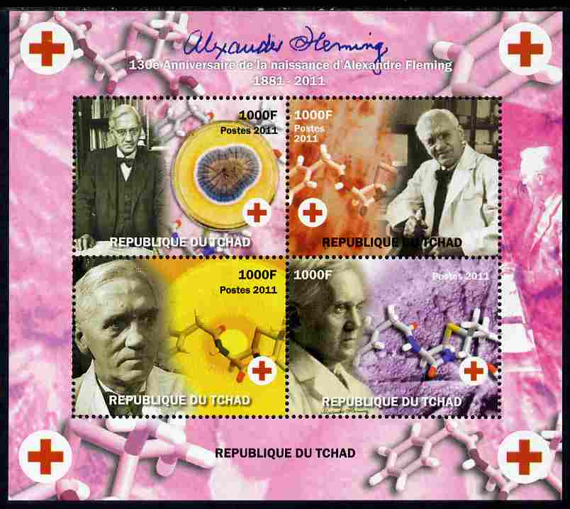 Chad 2011 130th Birth Anniversary of Alexander Fleming (biologist) perf sheetlet containing 4 values unmounted mint. Note this item is privately produced and is offered purely on its thematic appeal