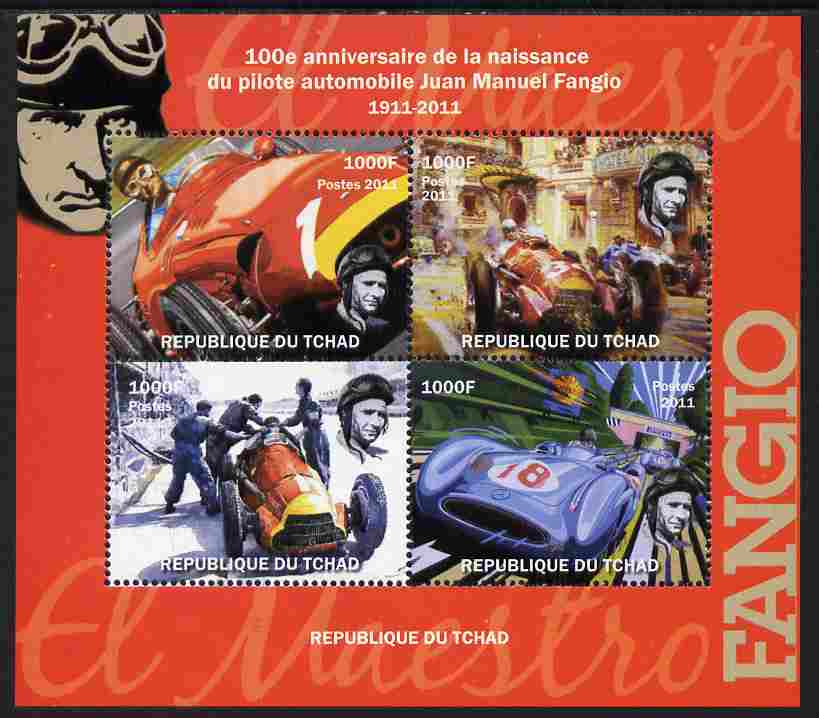 Chad 2011 100th Birth Anniversary of Manuel Fangio (racing car driver) perf sheetlet containing 4 values unmounted mint. Note this item is privately produced and is offer...