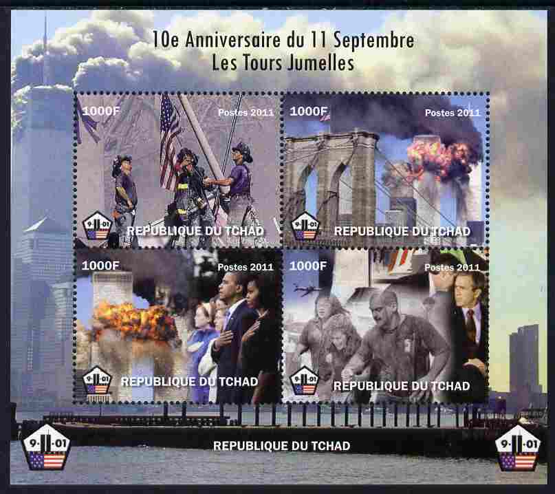 Chad 2011 10th Anniversary of 9-11 perf sheetlet containing 4 values unmounted mint. Note this item is privately produced and is offered purely on its thematic appeal