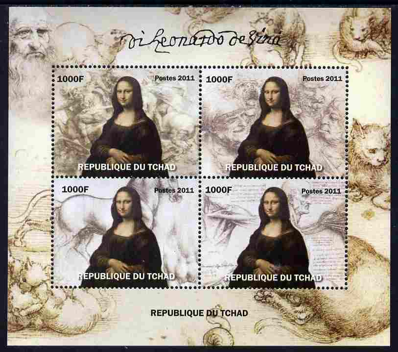 Chad 2011 Leonardo da Vinci perf sheetlet containing 4 values unmounted mint. Note this item is privately produced and is offered purely on its thematic appeal