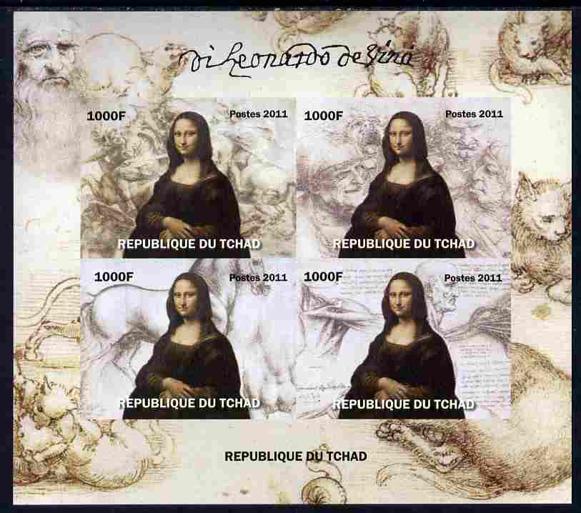 Chad 2011 Leonardo da Vinci imperf sheetlet containing 4 values unmounted mint. Note this item is privately produced and is offered purely on its thematic appeal