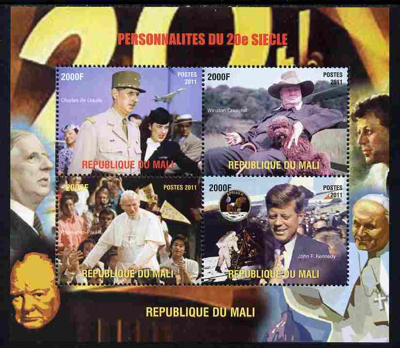 Mali 2011 Personalities of the 20th Century (de Gaulle, Churchill, Pope & Kennedy) perf sheetlet containing 4 values unmounted mint. Note this item is privately produced and is offered purely on its thematic appeal