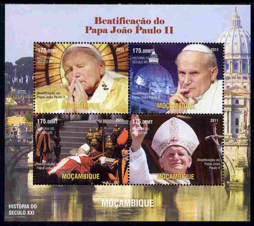 Mozambique 2011 Beatification of Pope John Paul II perf sheetlet containing 4 values unmounted mint. Note this item is privately produced and is offered purely on its thematic appeal