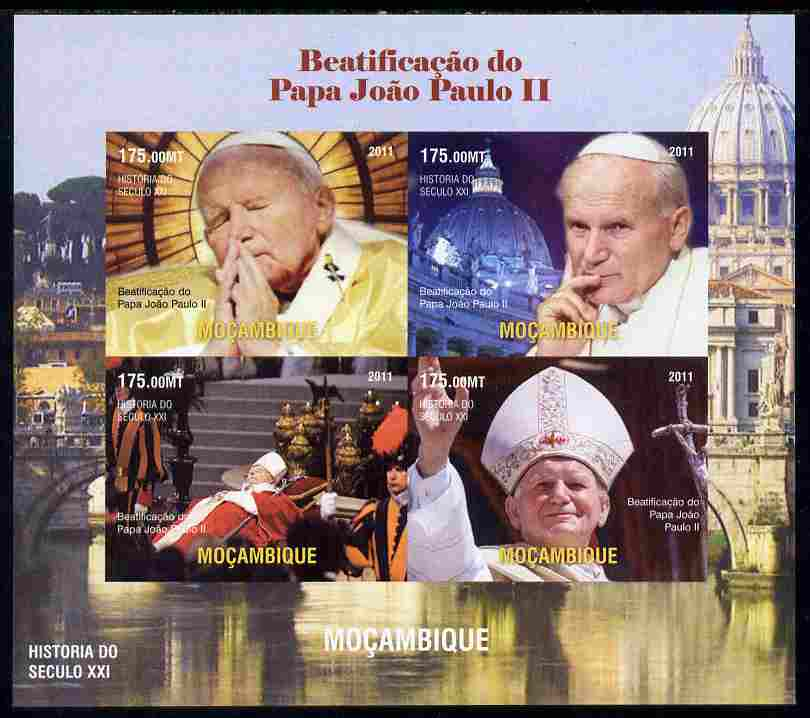 Mozambique 2011 Beatification of Pope John Paul II imperf sheetlet containing 4 values unmounted mint