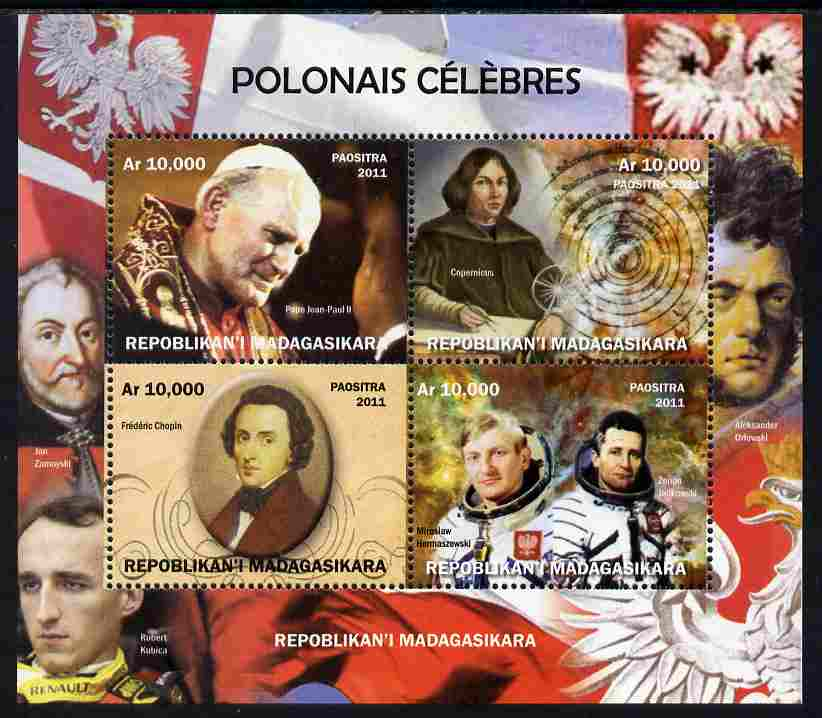 Madagascar 2011 Polish Celebrities perf sheetlet containing 4 values unmounted mint. Note this item is privately produced and is offered purely on its thematic appeal