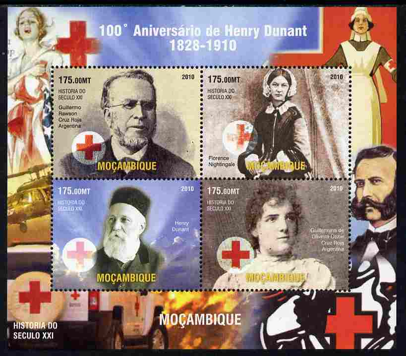 Mozambique 2011 Death Centenary of Henry Dunant perf sheetlet containing 4 values unmounted mint. Note this item is privately produced and is offered purely on its thematic appeal