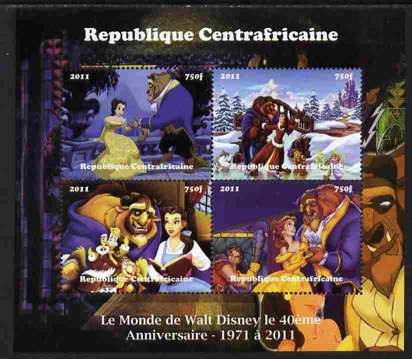 Central African Republic 2011 The World of Walt Disney #1 perf sheetlet containing 4 values unmounted mint. Note this item is privately produced and is offered purely on its thematic appeal