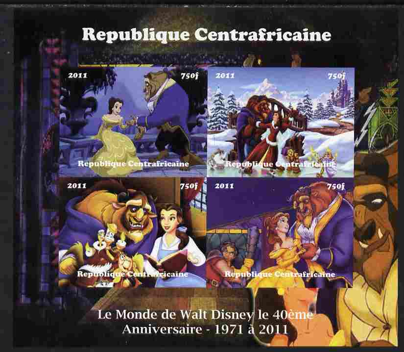 Central African Republic 2011 The World of Walt Disney #1 imperf sheetlet containing 4 values unmounted mint. Note this item is privately produced and is offered purely on its thematic appeal, it has no postal validity