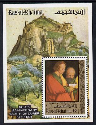 Ras Al Khaima 1971 Paintings by Durer (with Owl in margin) perf m/sheet unmounted mint Mi BL 106