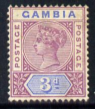 Gambia 1898-1902 QV Key Plate 3d purple & Blue Crown CA mounted mint, SG 41