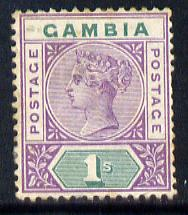 Gambia 1898-1902 QV Key Plate 1s violet & green Crown CA mounted mint, SG 44