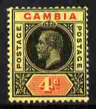 Gambia 1912-22 KG5 MCA 4d black & red on pale yellow mounted mint SG 92