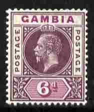 Gambia 1912-22 KG5 MCA 6d dull & bright purple mounted mint SG 94