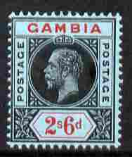 Gambia 1912-22 KG5 MCA 2s6d black & red on blue mounted mint SG 100