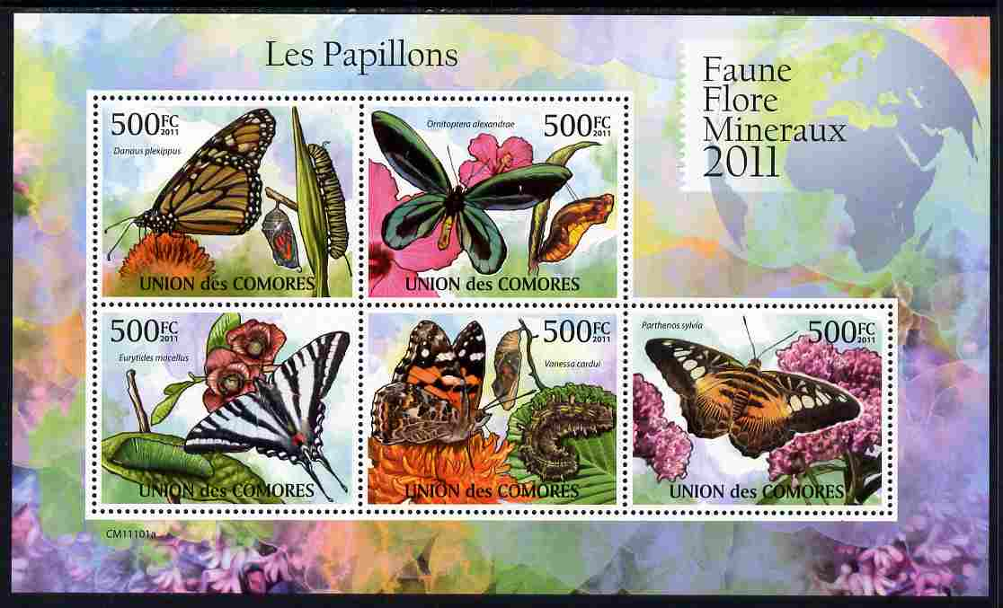 Comoro Islands 2011 Butterflies #1 perf sheetlet containing 5 values unmounted mint