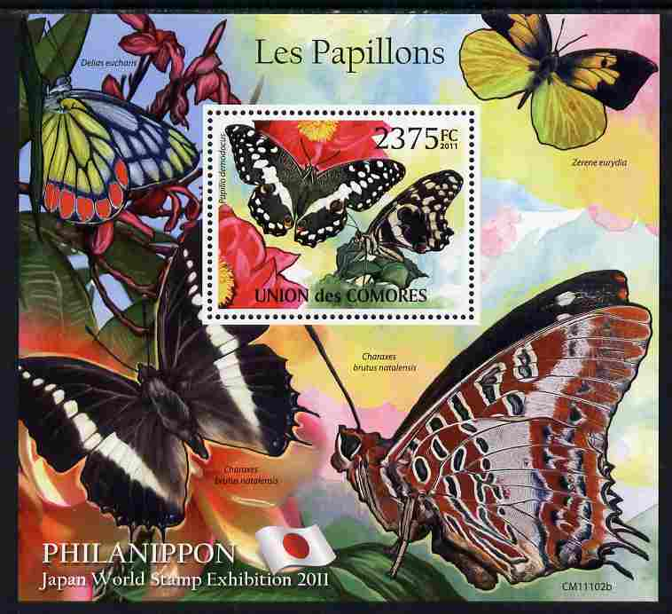 Comoro Islands 2011 Butterflies #2 perf m/sheet unmounted mint with Philanippon imprint in margin