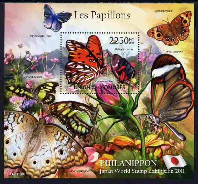 Comoro Islands 2011 Butterflies #4 perf m/sheet unmounted mint with Philanippon imprint in margin