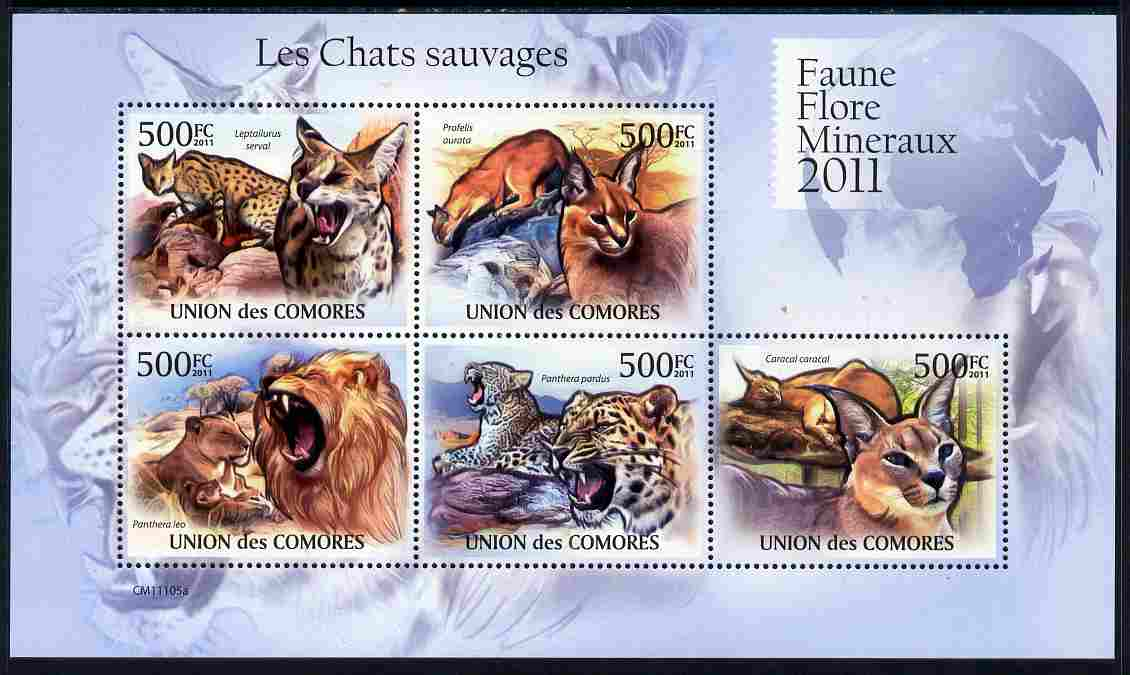 Comoro Islands 2011 Wild Cats perf sheetlet containing 5 values unmounted mint