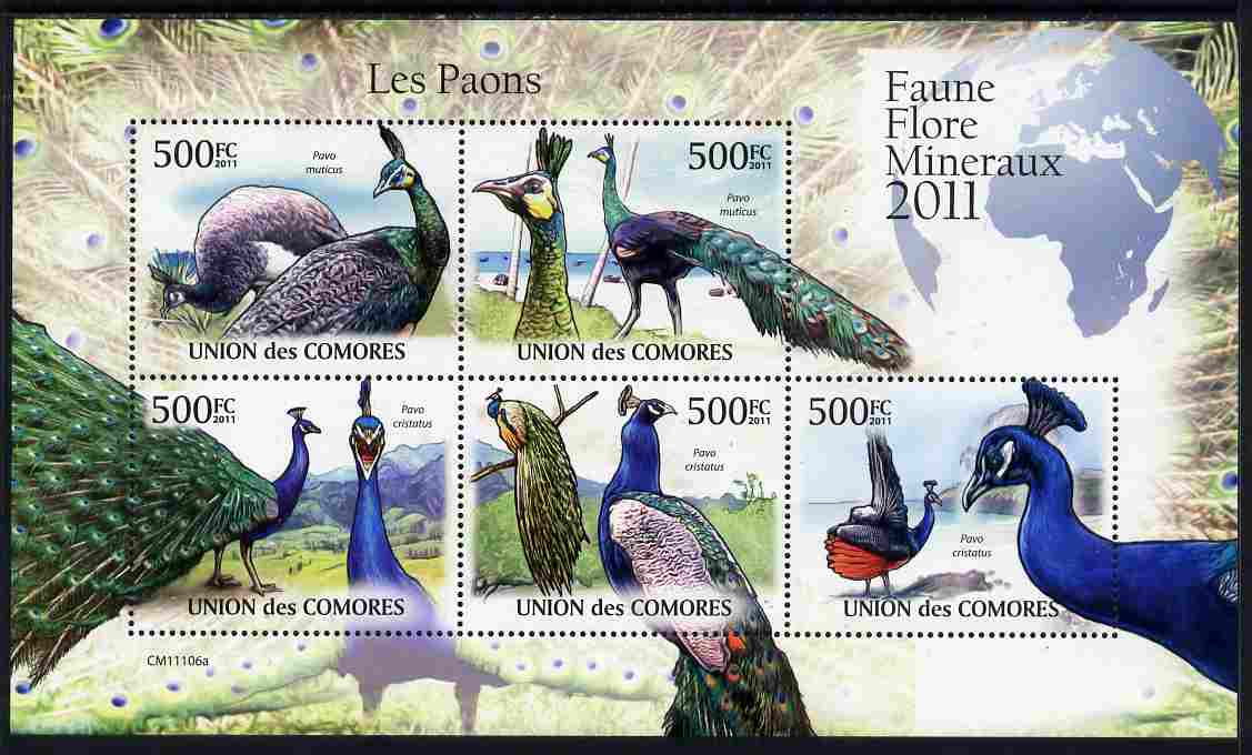 Comoro Islands 2011 Peacocks perf sheetlet containing 5 values unmounted mint