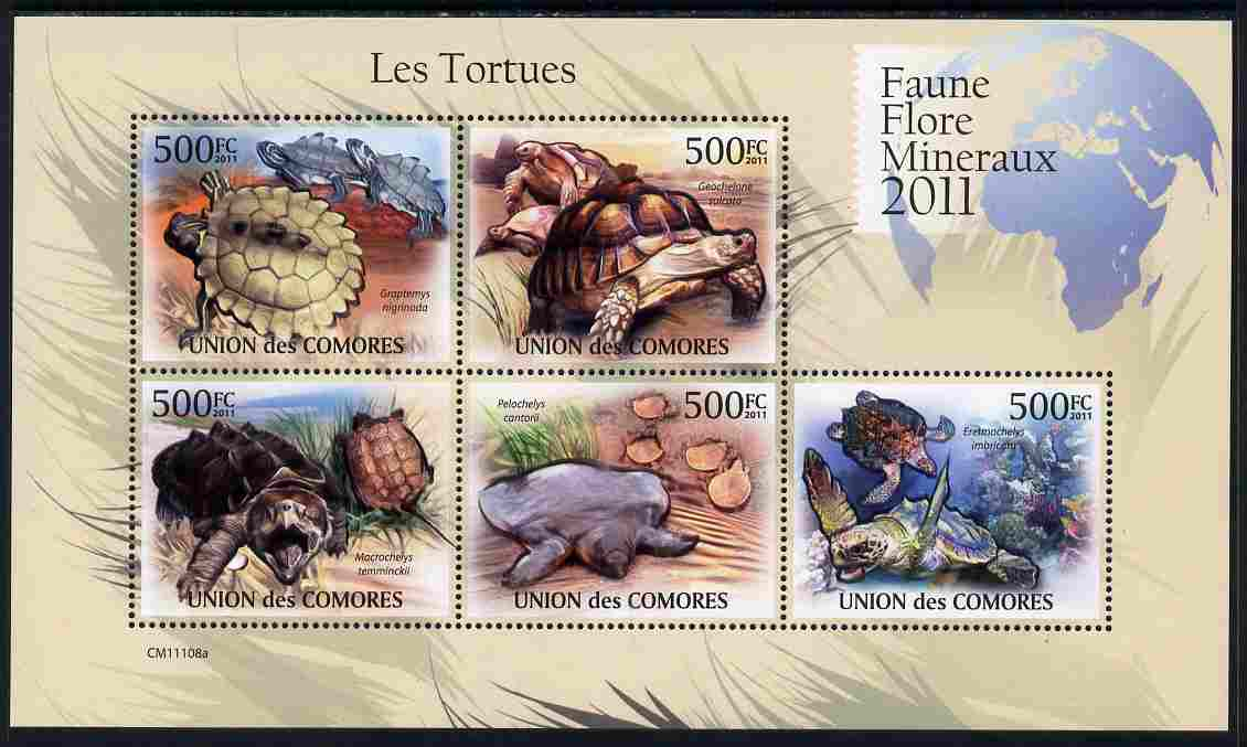 Comoro Islands 2011 Turtles perf sheetlet containing 5 values unmounted mint